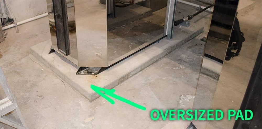 HVAC boiler oversized pad
