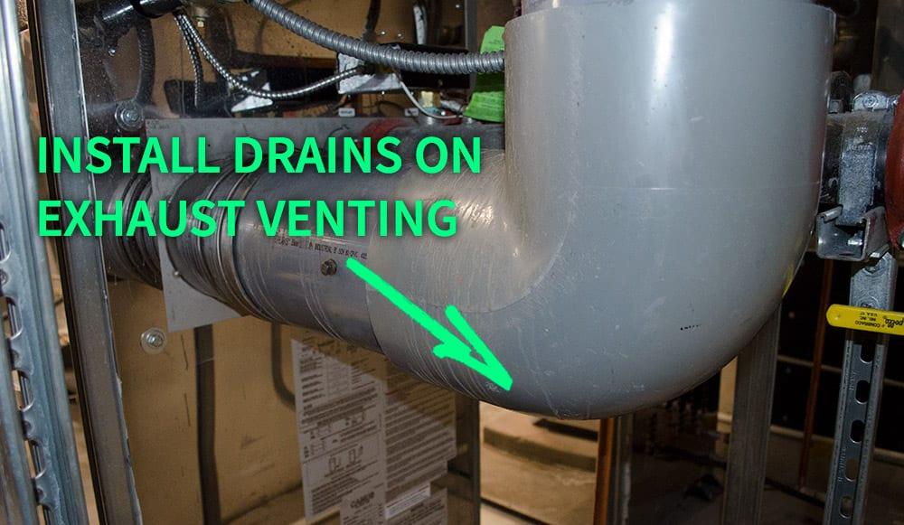 HVAC boiler exhaust vent drain