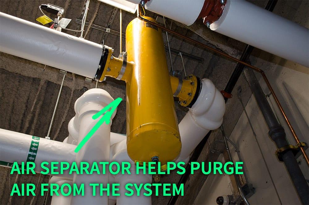 HAVC boiler air separator