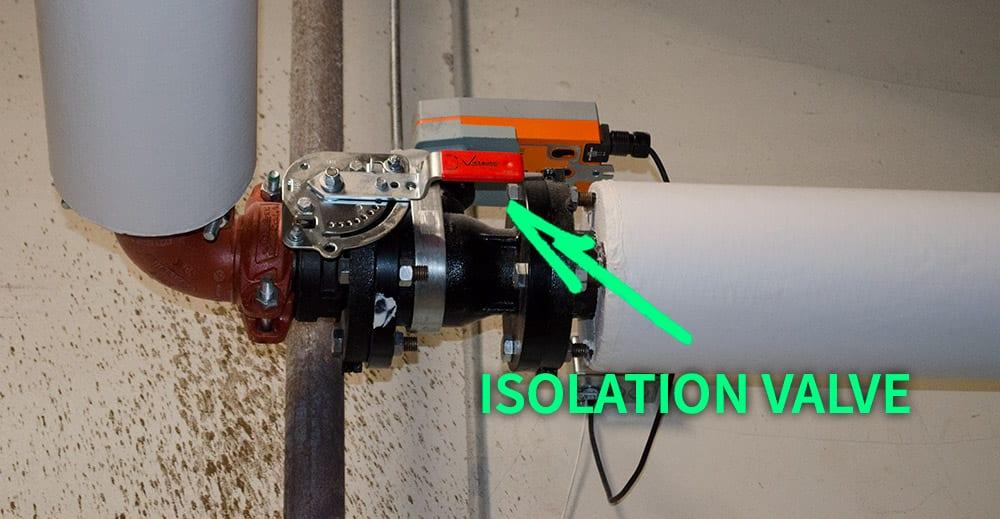 HVAC boiler isolation valve