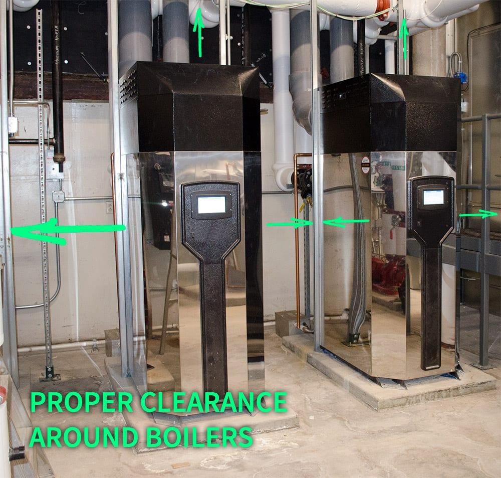 HVAC boiler clearance