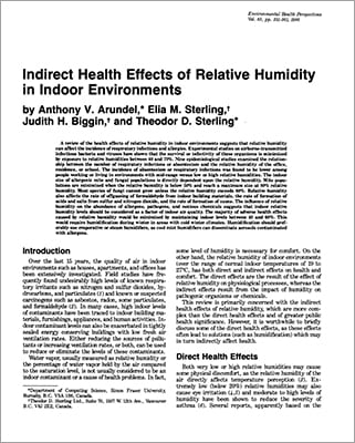 article about health effects of relative humidity