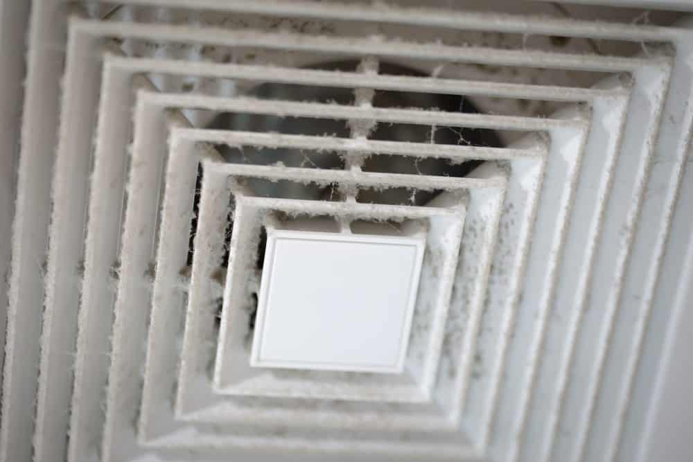 dusty air duct contributing to sick building syndrome