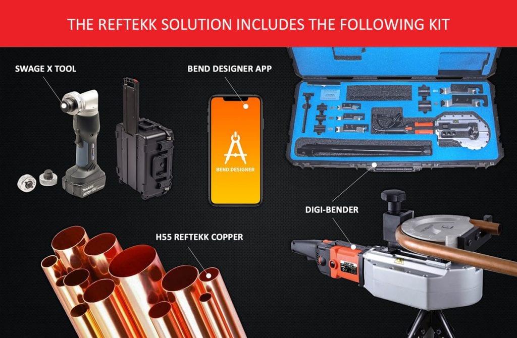 reftekk kit, swage tool, bender, app, pipe