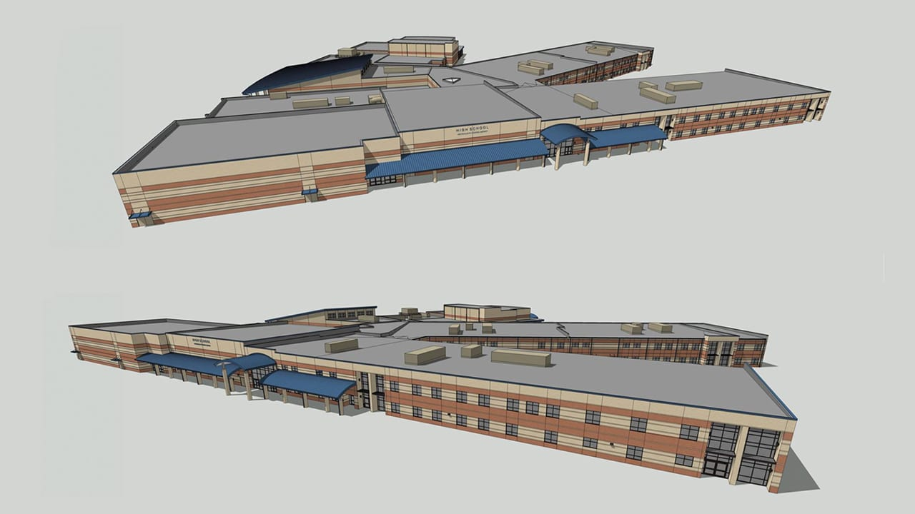 Drawings of the new high school in construction in Wentzville